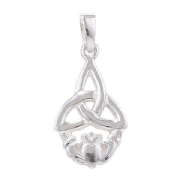 Sterling Silver Celtic Triquetra Claddagh Pendant 1.5g